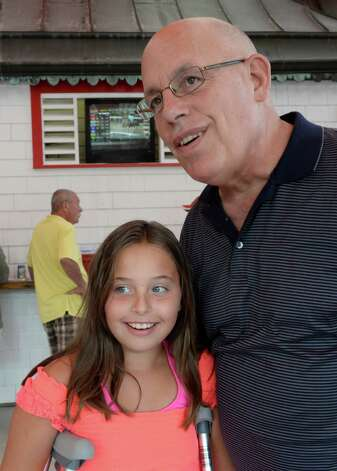 Ed Stanco, principal owner of The Alabama Stakes favorite Princess of Sylmar enjoys a day of racing with his granddaughter Avery Stanco, 9 Aug. 16, 2013,  at the Saratoga Race Course in Saratoga Springs, N.Y.  (Skip Dickstein/Times Union) Photo: SKIP DICKSTEIN