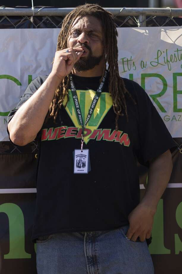"Marijuana activist Robert ""NJWeedman"" Forchion enjoys a smoke on the first day of Seattle Hempfest Friday, August 16, 2013, at Myrtle Edwards Park in Seattle. The annual event, which advocates the idea of decriminalized marijuana, continues through Sunday. Photo: JORDAN STEAD, SEATTLEPI.COM"