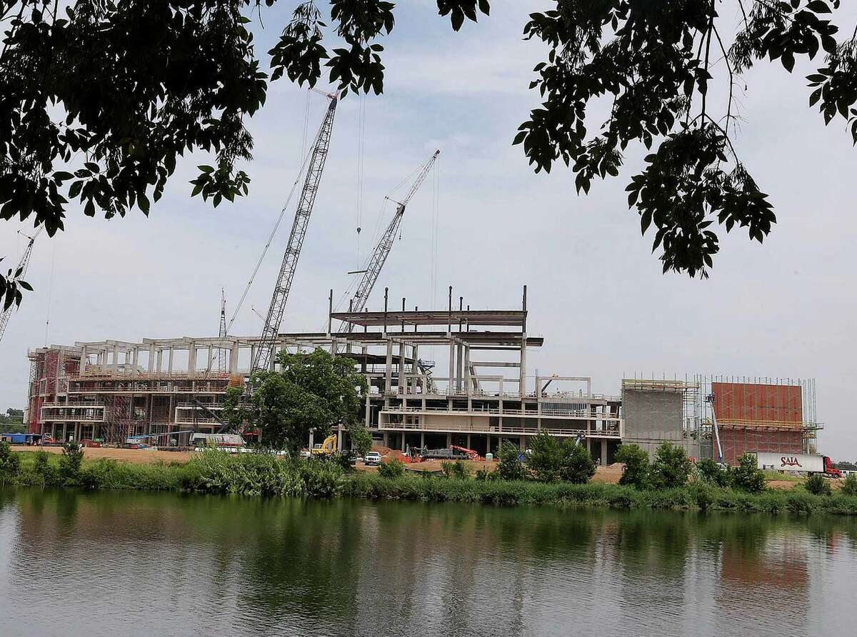 """Baylor's $260 million stadium, scheduled to open next fall, will have outside stadium gates for """"sailgating"""" on the Brazos River."""