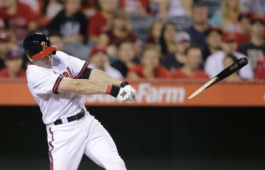 Peter Bourjos breaks his bat during the seventh inning. Photo: Jae C. Hong, Associated Press