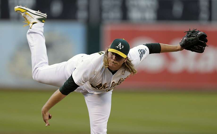Oakland Athletics' A.J. Griffin works against the Cleveland Indians in the first inning of a baseball game Friday, Aug. 16, 2013, in Oakland, Calif. (AP Photo/Ben Margot) Photo: Ben Margot, Associated Press