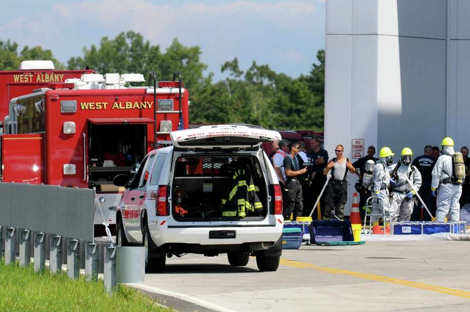 Emergency workers respond on Saturday, Aug. 17, 2013, at the College of Nanoscale Science and Engineering in Albany, N.Y. (Cindy Schultz / Times Union) Photo: Cindy Schultz