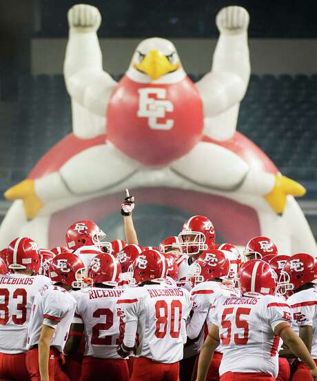 El Campo players take the field to face Stephenville in the Class 3A Division I high school football final at Cowboys Stadium on Friday, Dec. 14, 2012, in Arlington. Photo: Smiley N. Pool, Staff / © 2012  Houston Chronicle