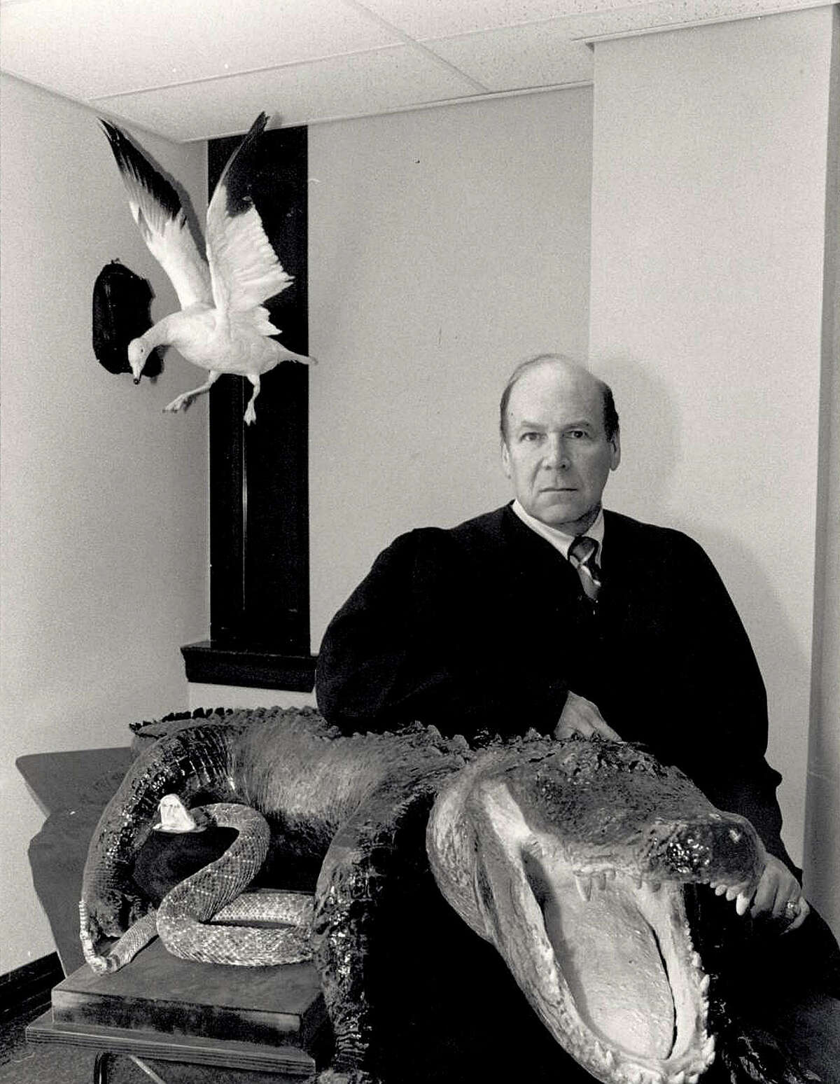 Judge Al Gerson with some of the hunting trophies that gave his chambers flair soon after being appointed to County Court at Law No. 1 in Jefferson County. Gerson announced his retirement after 27 years on the bench. Enterprise file photo