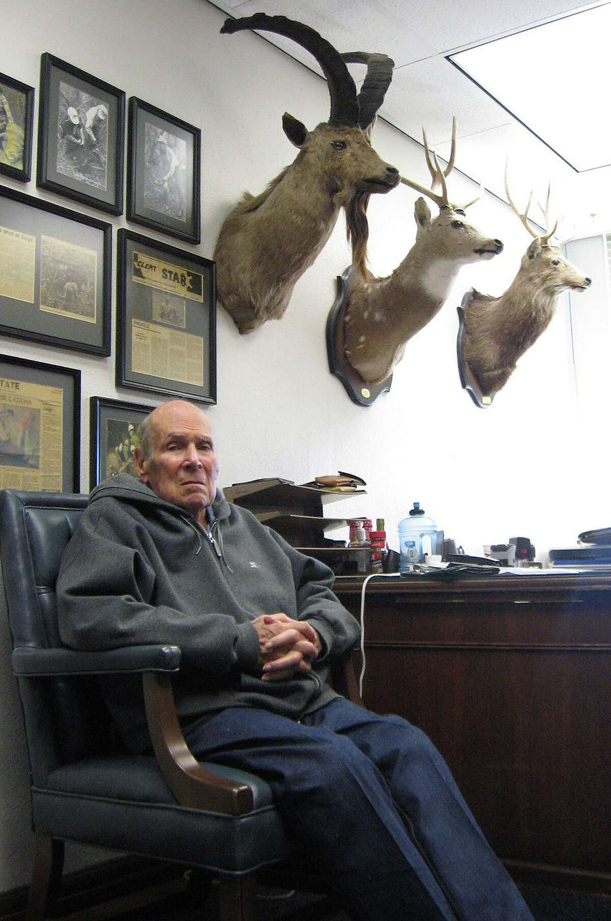 County Court at Law 1 Judge Al Gerson announced his retirement after 27 years on the bench. Gerson, 87, got his law license in 1953. He is seen here in his chambers with some of his hunting trophies. Enterprise file photo
