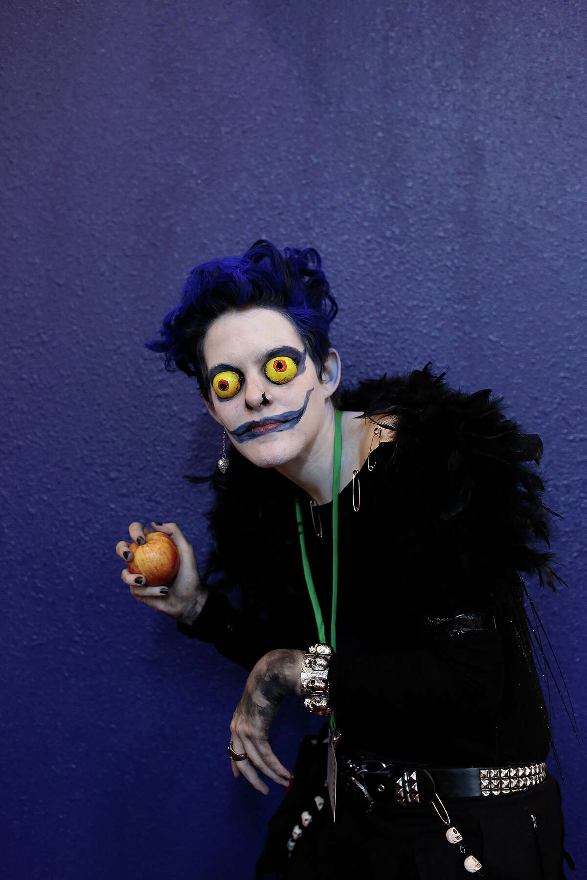 Erin Johnston, of San Antonio, poses as Ryuk from the anime series Death Note during San Japan Sinister 6 at the Henry B. Gonzalez Convention in San Antonio on Saturday, August 17 2013.