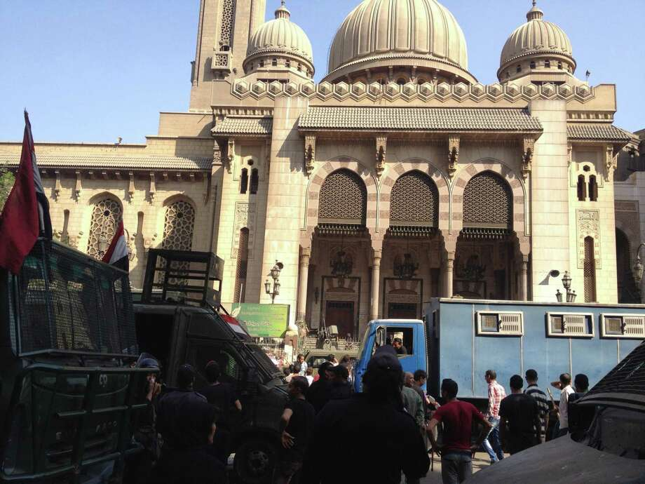 Supporters of ousted Egyptian President Mohammed Morsi occupied the al-Fath Mosque in Cairo during clashes Saturday between Islamists and police. Photo: Amina Ismail, STR / MCT