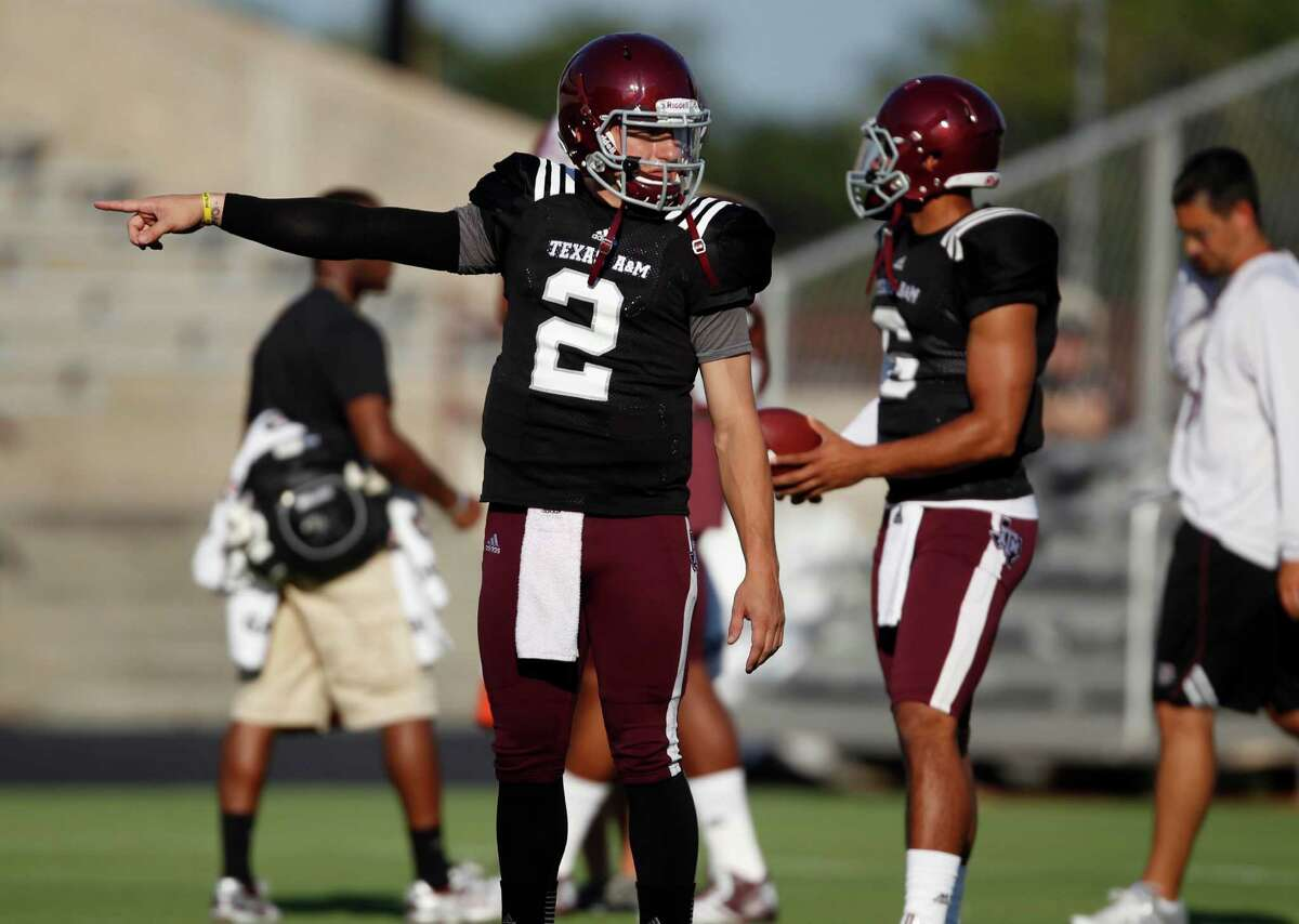 Texas A&M quarterback Johnny Manziel (2) before an intersquad scrimmage game, Saturday, August 17, 2013 at Kyle Field in College Station, TX.