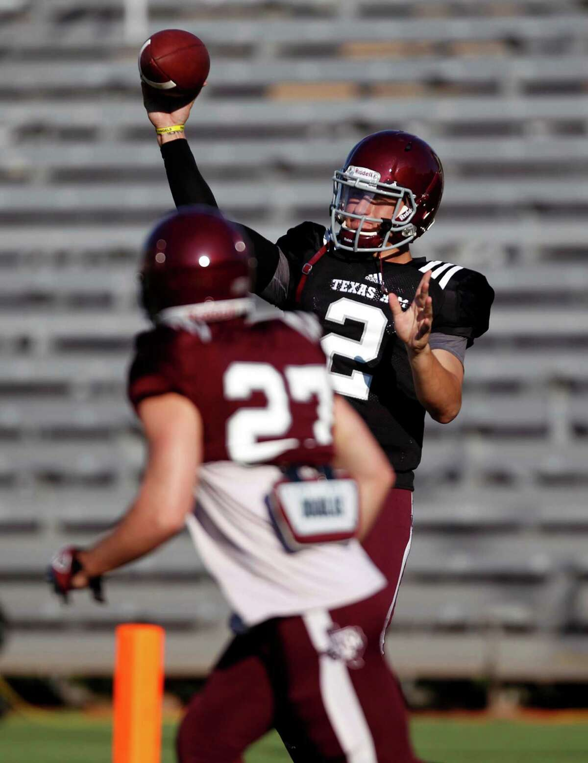 Texas A&M quarterback Johnny Manziel (2) throws a pass to Brice Dolezal before an intersquad scrimmage game, Saturday, August 17, 2013 at Kyle Field in College Station, TX.
