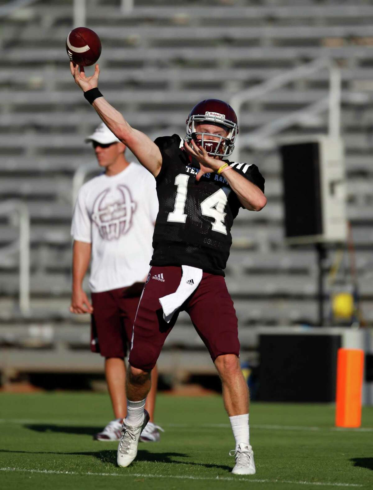 Texas A&M quarterback Connor McQueen warms up before an intersquad scrimmage game, Saturday, August 17, 2013 at Kyle Field in College Station, TX.