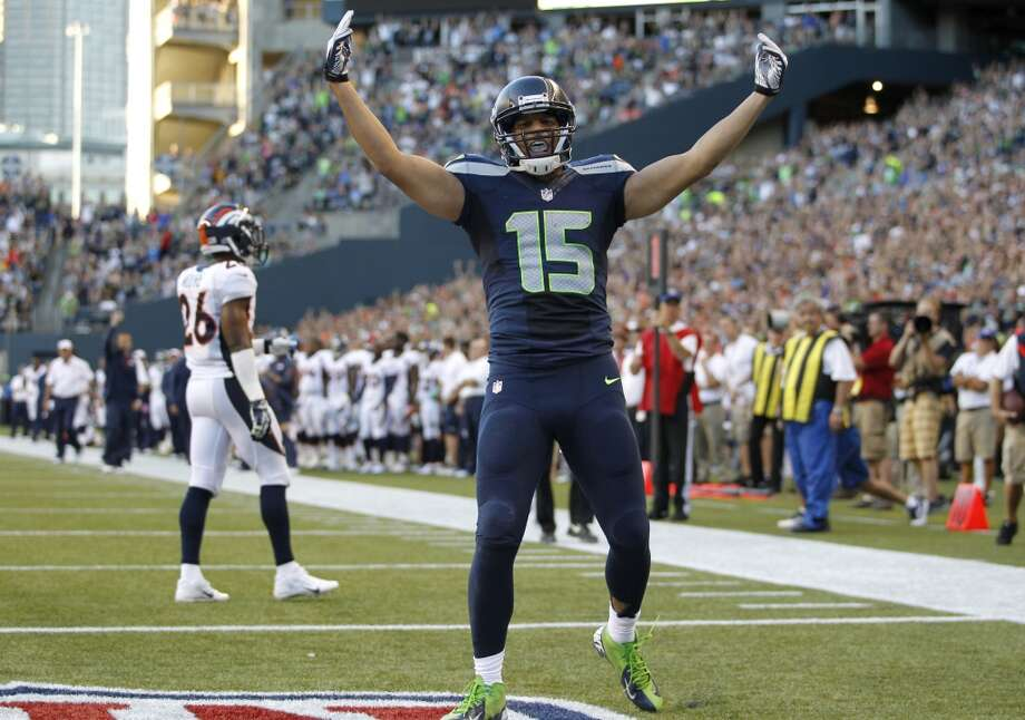 Seattle Seahawks' Jermaine Kearse celebrates his touchdown against the Denver Broncos in the first half of a preseason NFL football game, Saturday, Aug. 17, 2013, in Seattle. (AP Photo/John Froschauer) Photo: ASSOCIATED PRESS