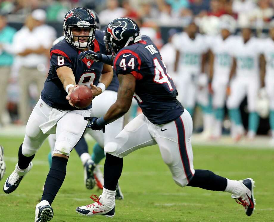 Houston Texans' Matt Schaub hands off to Houston Texans'  Ben Tate during first half action against the Miami Dolphins Saturday Aug. 17, 2013 at Reliant Stadium in Houston, Texas. Photo: Edward A. Ornelas, San Antonio Express-News / © 2012 San Antonio Express-News