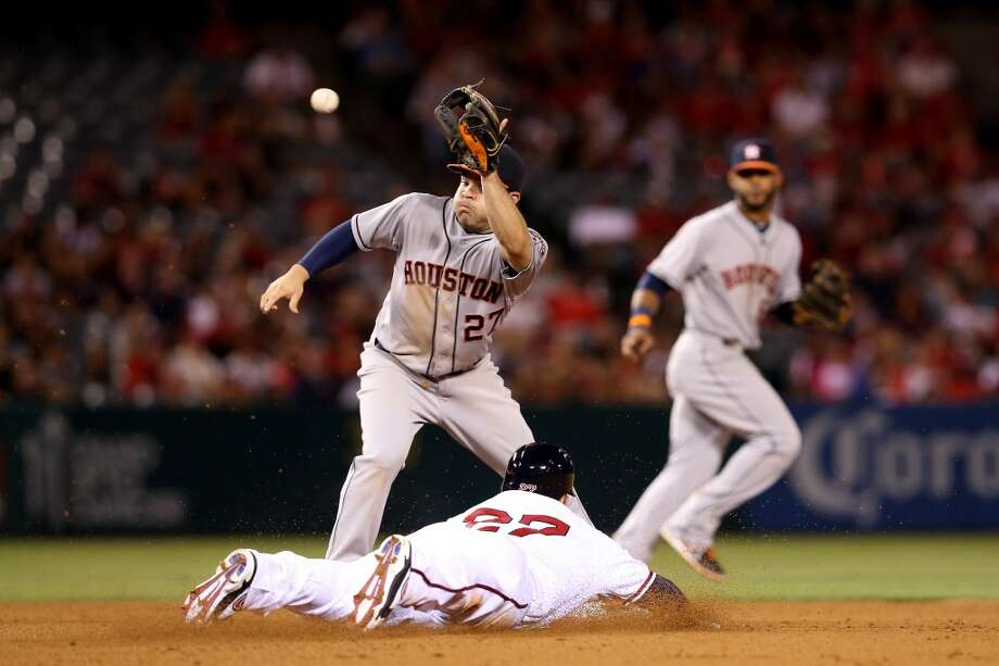 Mike Trout of the Angels slides into second with a stolen base. Photo: Stephen Dunn, Getty Images