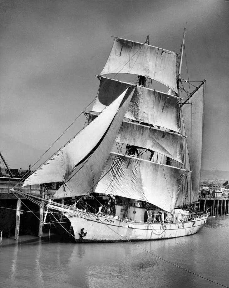 The Albatross, now rigged as a brigantine, at Moore Drydock in Alameda.  June 13, 1956. Photo: Bob Campbell, The Chronicle