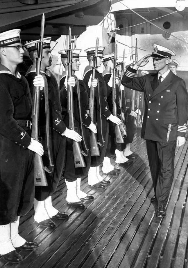 Capt. Gunnar Nordstrom, H.M.S. Alvsnabben, of the Swedish Navy.  December 30, 1958. Photo: Ken McLaughlin, The Chronicle