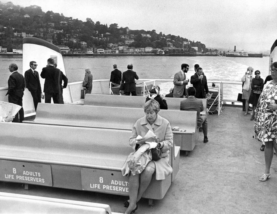 The Golden Gate Ferry during a 7:20 a.m. trip, leaving Sausalito. August 17, 1970. Photo: Gordon Peters, The Chronicle