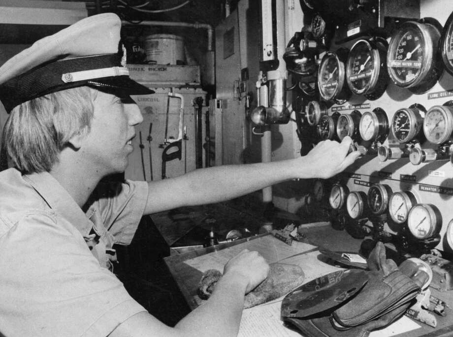 Don Burkhardt, 17, in engine room of ex-Coast Guard cutter. Sea Scouts on trip to Alaska. October 13, 1978. Photo: John O'Hara, The Chronicle