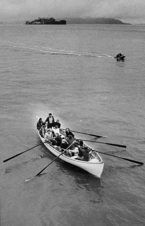"Longboat nearing ""Balclutha"" after rowing from Sausalito. July 22, 1983. Photo: Mike Maloney, The Chronicle"