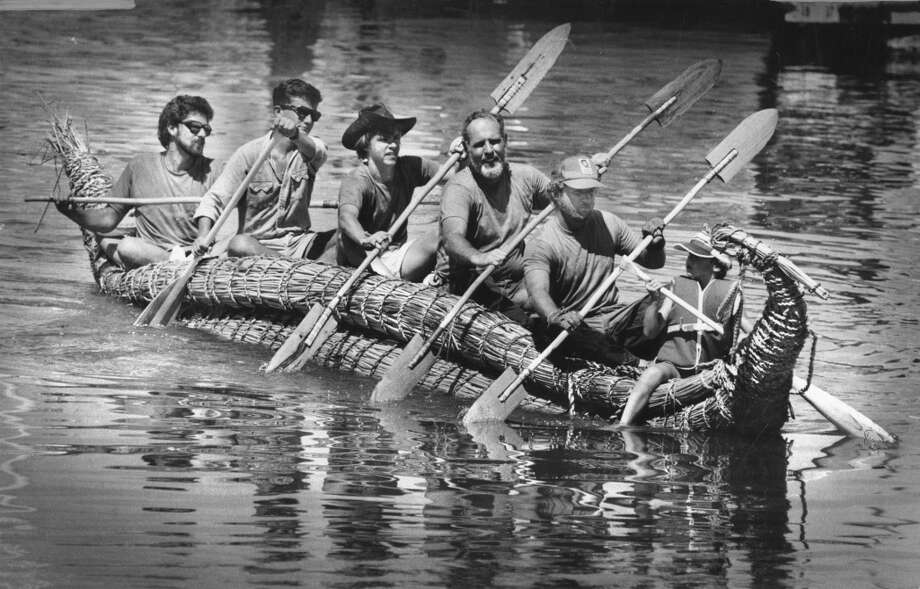 Celebrating the 50th anniversary of the East Bay Regional Park District after paddling from Antioch to Martinez (part of a 78-mile trip) in a boat made of reeds. September 2, 1984. Photo: Steve Ringman, The Chronicle