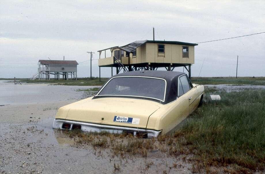 Damage near Surfside, August 1983. Photo: Houston Post