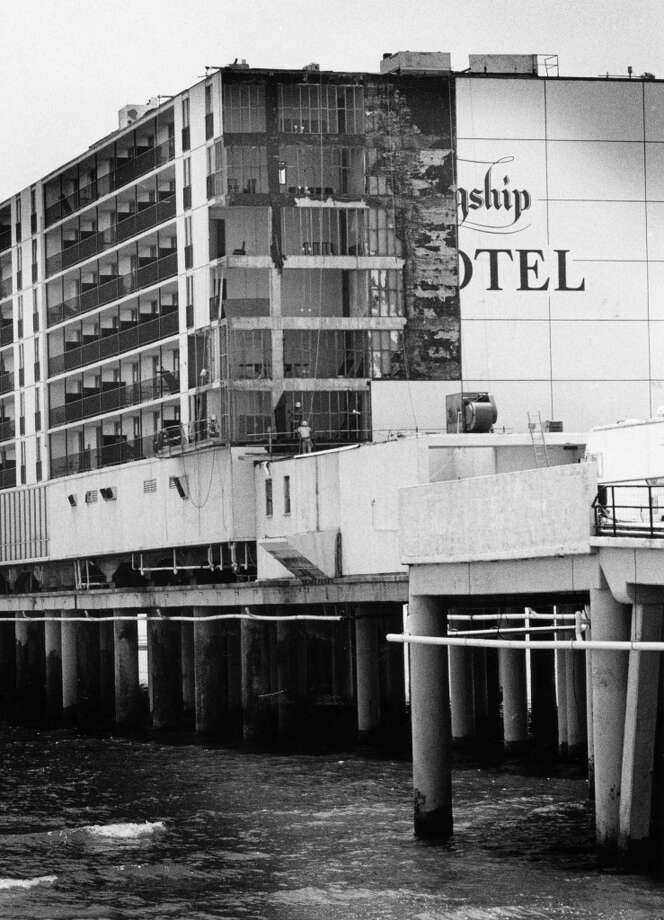 A view of the Flagship Hotel in Galveston Thursday afternoon as workers begin restoration of the beachfront hotel which suffered extensive damage from Hurricane Alicia, August 25, 1983. Photo: King Chou Wong, Houston Post