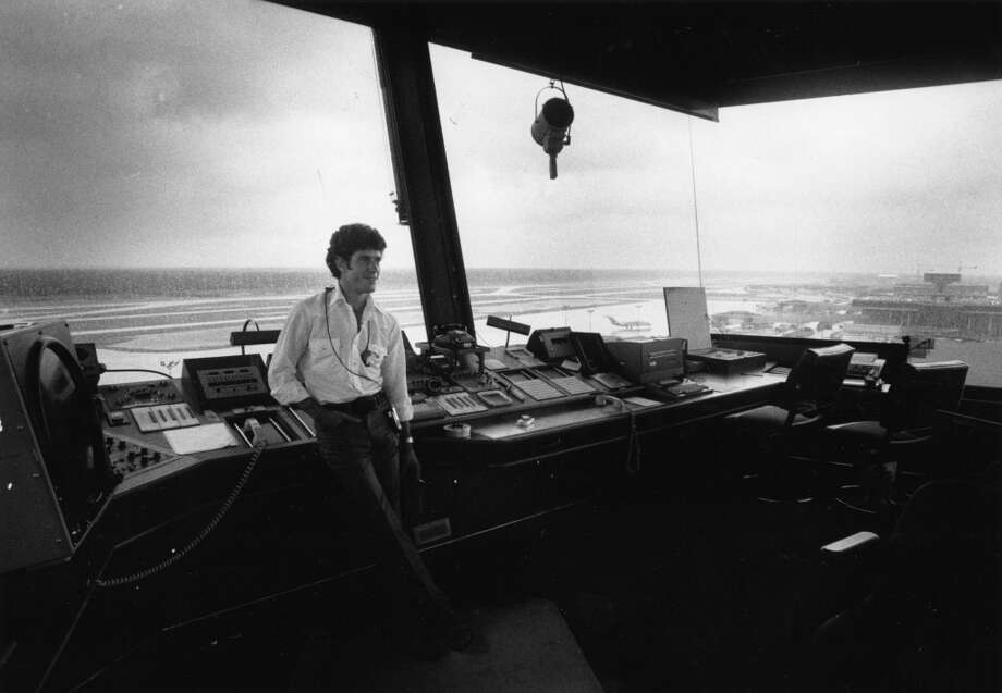 'Almost no airplanes.' Air traffic controller Randy Horner at Intercontinental Airport, August 18, 1983. Photo: Fred Bunch, Houston Post