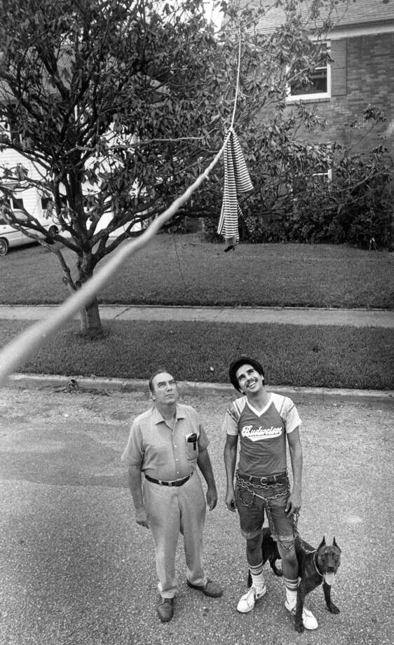From the August 24, 1983, Houston Chronicle: Leonard Groeschel, left, and Samuel Rosales inspect an extension cord that feeds Rosales' house with power from Groeschel's house at 1800 Euclid. Houston Lighting and Power officials warn that overloading such cords can cause overheating and fires. Photo: Ben DeSoto, Houston Chronicle