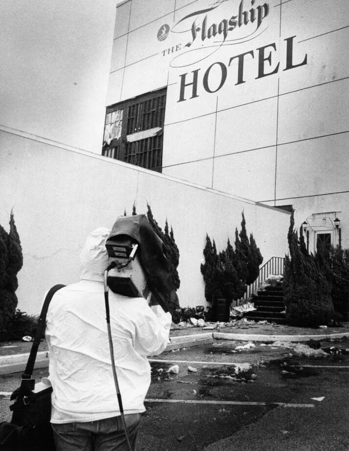 Hurricane Alicia's winds damaged Flagship Hotel in Galveston, August 17, 1983. Photo: Fred Bunch, Houston Post