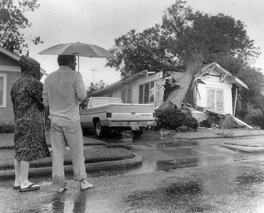 From the August 19, 1983, Houston Chronicle: Debbie Oxford and Charles Fontenot look over the damage to a home at 920 W. Cottage in the Heights where a huge oak tree, uprooted by winds brought by Hurricane Alicia, crushed a part of the house. Residents of the Heights said many trees were uprooted in the area. Photo: John Everett, Houston Chronicle