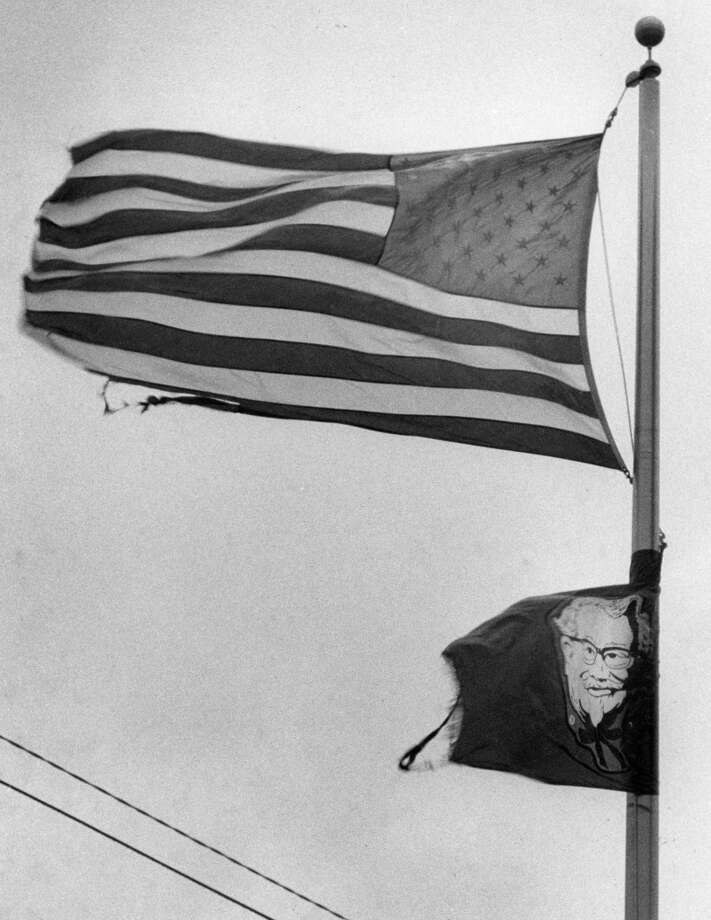 The U.S. flag and the KFC flag at 20th and Yale in the Heights, August 18, 1983. Photo: John Everett, Houston Chronicle