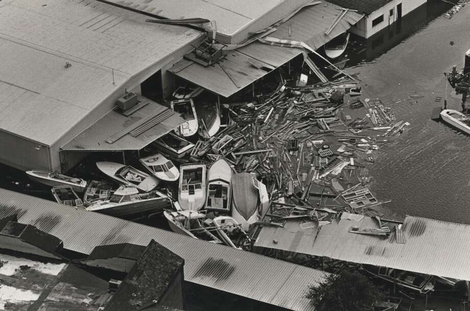 Boats and debris in Seabrook at Showboat Marine on Clear Lake,  Aug. 20, 1983. Photo: Darrell Davidson, Houston Chronicle