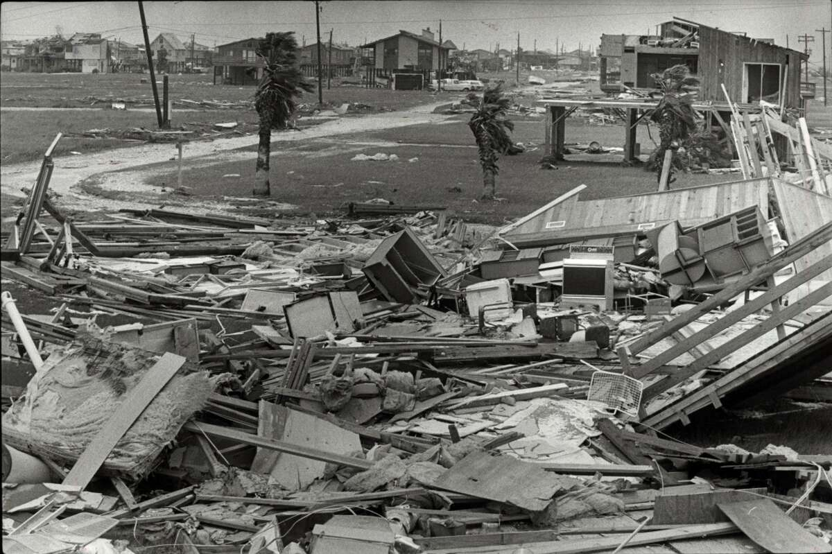 Hurricane Alicia wreckage on Galveston Island's west end, Aug. 19, 1983. (For more photos of Alicia and its aftermath, click through the slideshow.)