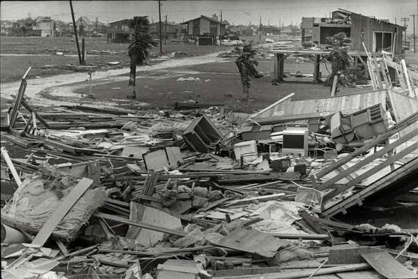 Hurricane Alicia wreckage on Galveston Island's west end, Aug. 19, 1983.