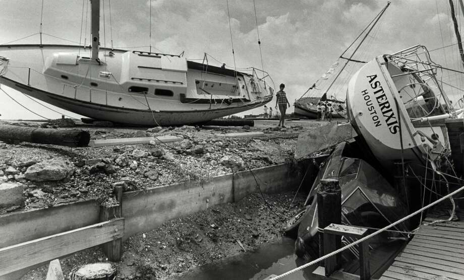 A sailboat at the Houston Yacht Club lies aground after Hurricane Alicia, August 19, 1983. Photo: John Everett, Houston Chronicle