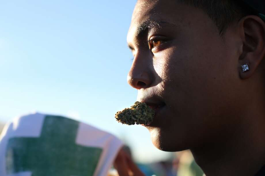 J. Cruz holds a bud in his mouth during the second day of Seattle's annual Hempfest. This is the first year for the annual pro-pot rally since Washington State voters legalized recreational use of marijuana. Photographed on Saturday, August 17, 2013. Photo: JOSHUA TRUJILLO, SEATTLEPI.COM