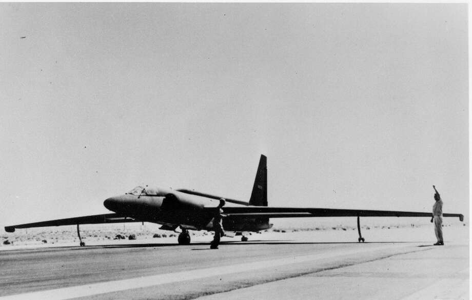 A U-2 spy plane is tested at an airstrip 90 miles north of Las Vegas that became known as Area 51 in this undated, archive photo provided by the CIA. The CIA is acknowledging in the clearest terms yet the existence of Area 51, the top-secret Cold War test site that has been the subject of conspiracy theories for decades. Photo: AP