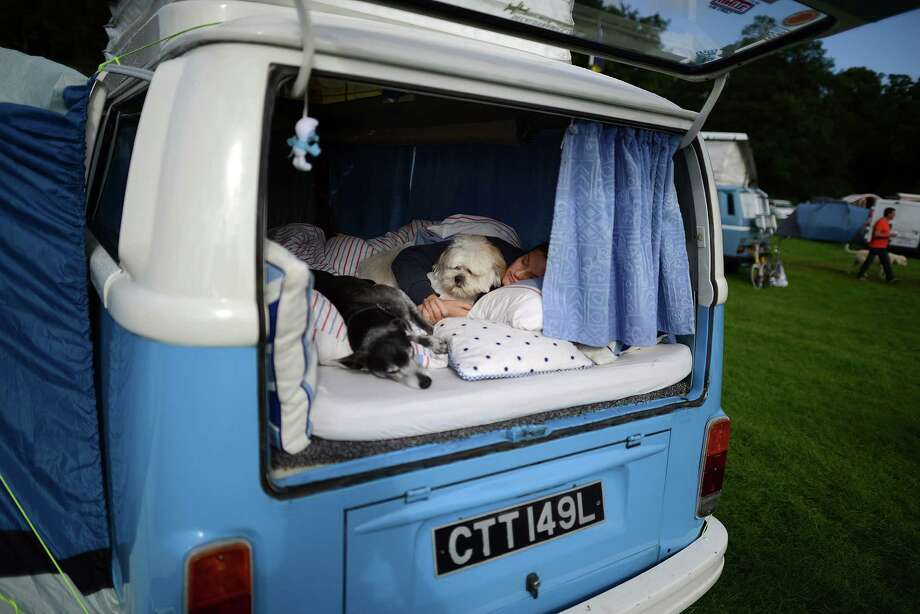 Jo Thompson of Leeds sleeps with dogs Bojangles and Basil in her VW camper van during the 'In Praise Of All Things VW At The Annual Festival' at Harewood House on August 18, 2013 in Leeds, England. The annual VW festival is in its 9th year attracting around 15,000 people over the weekend, ending with the winners car parade on Sunday. Photo: Nigel Roddis, Getty Images / 2013 Getty Images