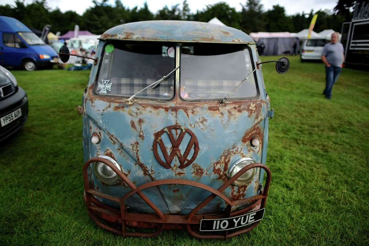 A VW camper van on display during the 'In Praise Of All Things VW At The Annual Festival' at Harewood House on August 18, 2013 in Leeds, England. The annual VW festival is in its 9th year attracting around 15,000 people over the weekend, ending with the winners car parade on Sunday.