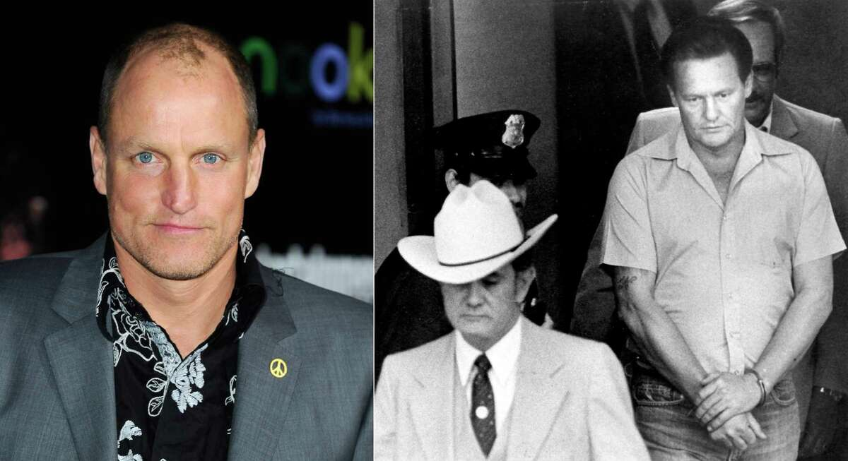 Actor Woody Harrelson's (left) estranged father, hitman Charles Harrelson (under arrest, right), assassinated U.S. District Judge John H. Wood Jr. near his home in 1979. The slaying made headlines, as Wood - who was known as