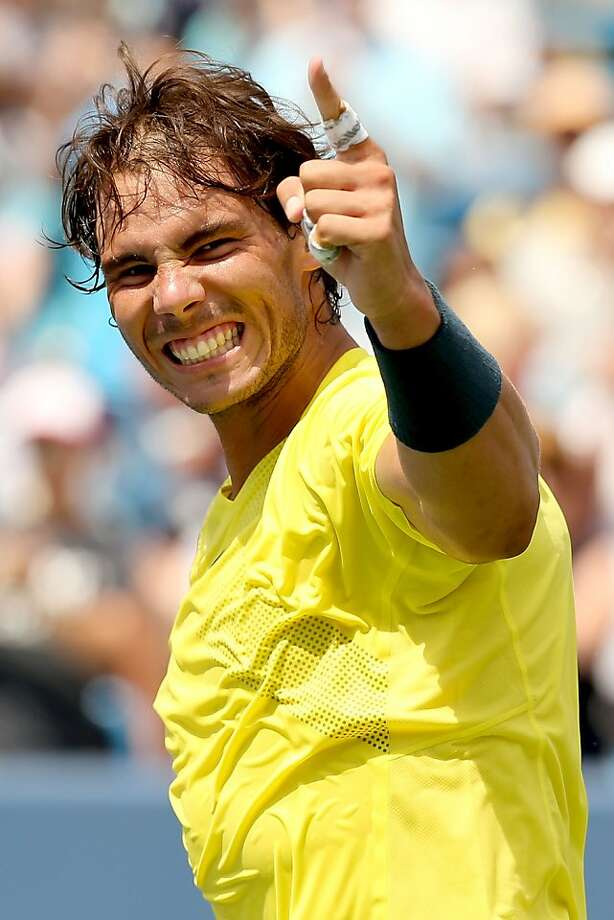 Rafael Nadal won the Masters event in Cincinnati for the first time. No wonder he has such a wide grin after a year of injuries. Photo: Matthew Stockman, Getty Images