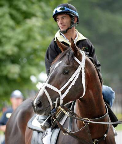 Regular rider John Velazquez sits atop Verrazano before his had his final prep work for Saturday's Travers Stakes Aug 18, 2013 at the Saratoga Race Course in Saratoga Springs, N.Y.    (Skip Dickstein/Times Union) Photo: SKIP DICKSTEIN