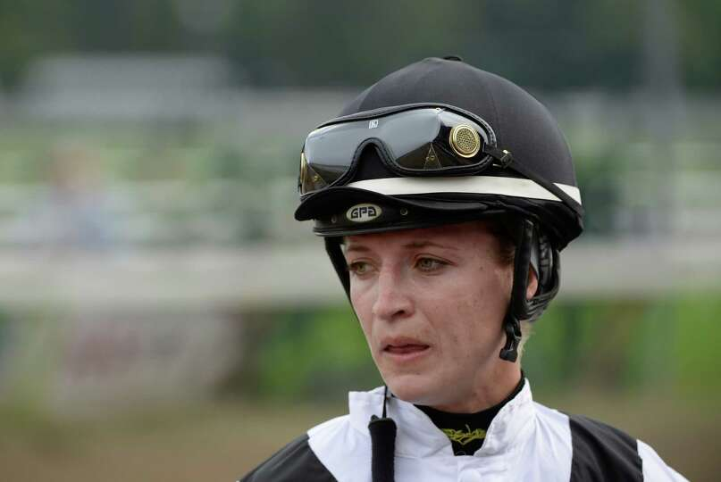 Jockey Forest Boyce shows the dismay of being disqualified and placed third after a jockey's objecti