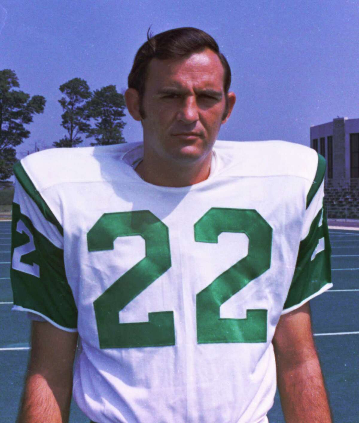 In this 1970 photo, New York Jets safety Jim Hudson poses for a photo, location not known. Hudson, who helped the team to its only NFL football Super Bowl title in 1969, has died. He was 70. The team confirmed Thursday, June 27, 2013, on its official site that Hudson died Tuesday in Austin, Texas. The cause of death was not disclosed. (AP Photo)