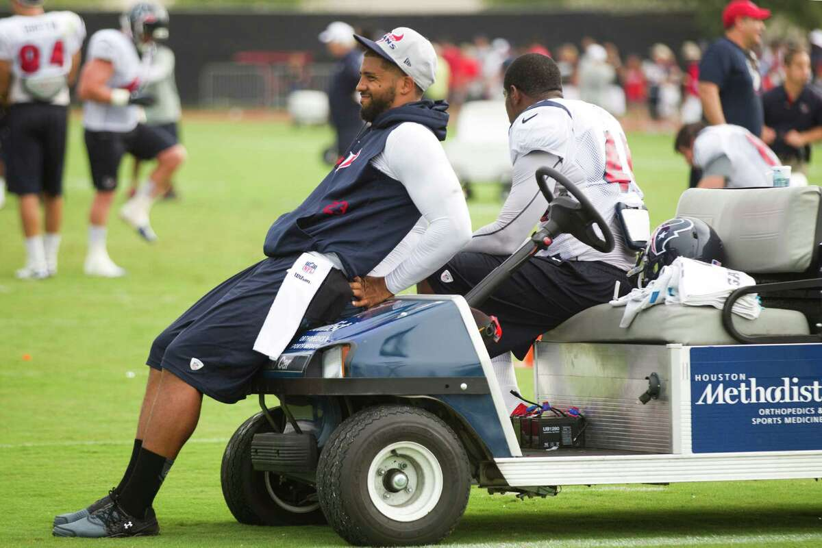 Texans running back Arian Foster's work in training camp is limited because of injuries.