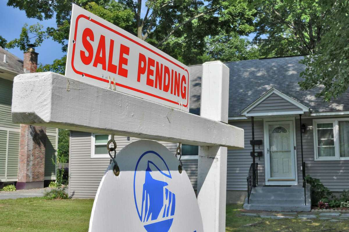 A sale-pending sign on a home in Troy, N.Y. (Times Union archive)
