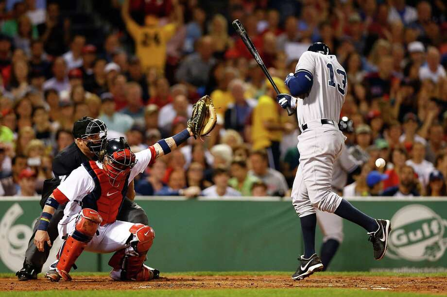 BOSTON, MA - AUGUST 18: Alex Rodriguez #13 of the New York Yankees is hit by a pitch in the second inning by Ryan Dempster #46 of the Boston Red Sox during the game on August 18, 2013 at Fenway Park in Boston, Massachusetts. Both benches were immediately warned and manager Joe Girardi #28 of the New York Yankees was ejected by umpire Brian O'Mora. (Photo by Jared Wickerham/Getty Images) ORG XMIT: 163495076 Photo: Jared Wickerham / 2013 Getty Images