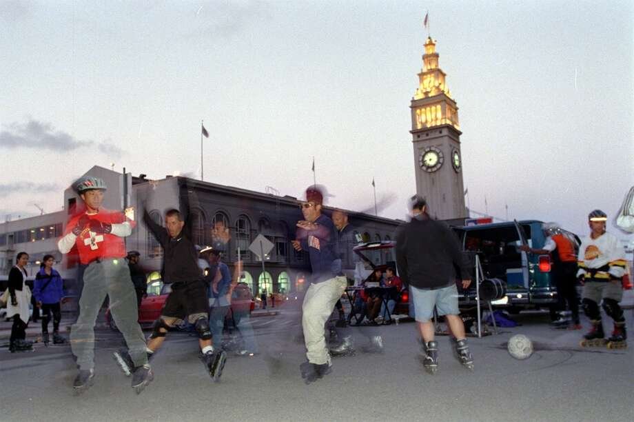Join the 'Midnight Rollers' for a Friday night skate, usually starting at 8:45 p.m. at the Ferry Building. Photo: Liz Hafalia, The Chronicle