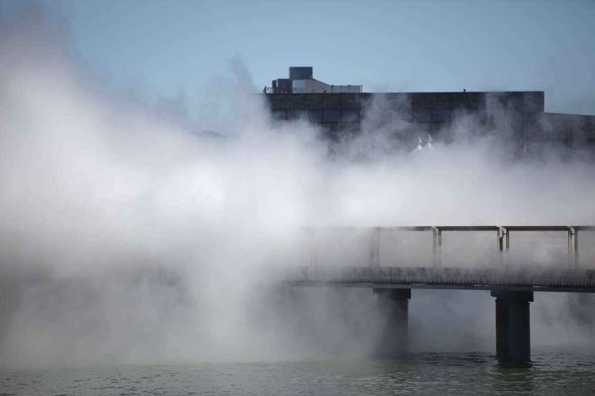 Visit the 'fog bridge' at the Exploratorium at Pier 15.