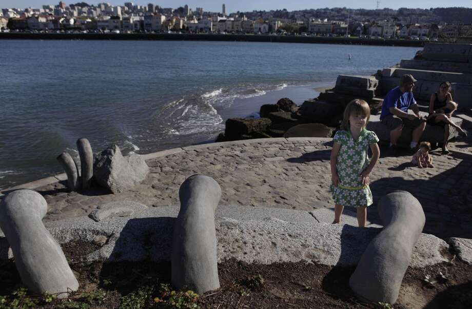 Listen to the Wave Organ sculpture, at the end of the jetty that houses the St. Francis and Golden Gate yacht clubs. Photo: Lea Suzuki, The Chronicle