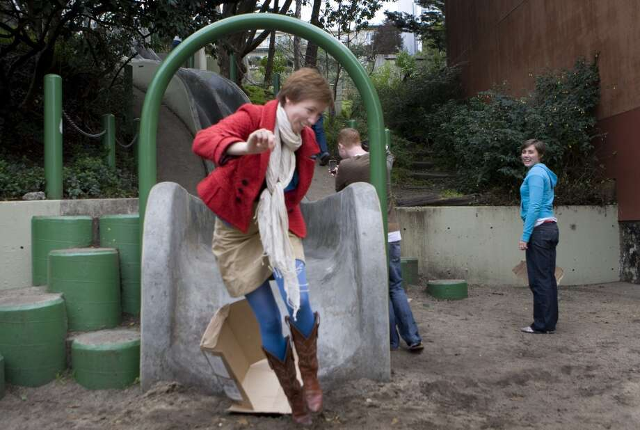 Grab a cardboard box and slide down the concrete slides at Seward St., Winfield St. in Bernal Heights, or the children's playground at Golden Gate Park. Photo: Chronicle File Photo